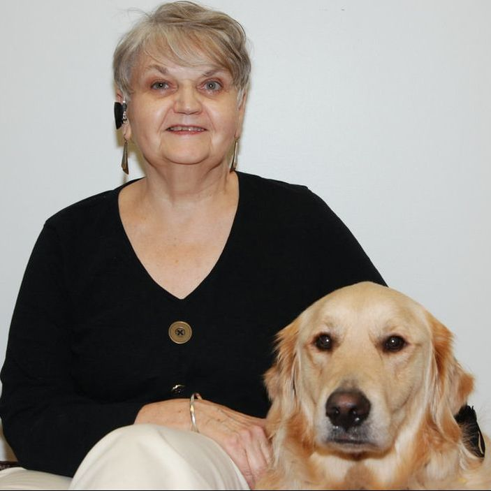 Picture of Kathleen and her guide dog Yabel